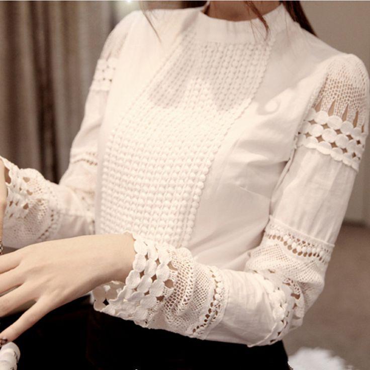 Cheap S xxxl 2015 moda primavera otoño mujeres blusas recorte camisa de gasa manga larga de encaje blanco desgaste del trabajo del ol mujeres Tops, Compro Calidad Blusas y Camisas directamente de los surtidores de China:                          S-XXXL 2015 Fashion Spring Autumn Women blouses Cutou
