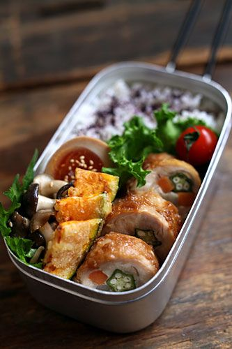 Japanese Bento Lunch with Chicken Teriyaki Vegetable Roll, Pumpkin Tempura, Ajitsuke Tamago Soy Egg|チキンロール弁当 by mie