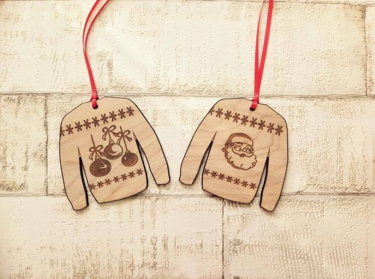 Christmas jumper wooden hanging decoration