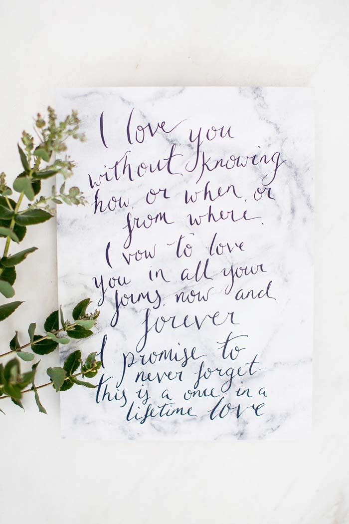 love quotes for invitations%0A Floral   Marble Wedding Inspiration