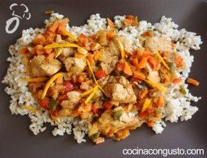 arroz integral con pollo a la naranja