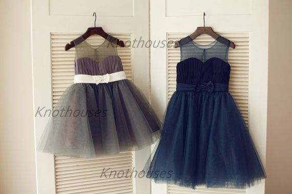 Gray/Navy Blue Sweetheart Sheer Tulle Chiffon Flower by knothouses