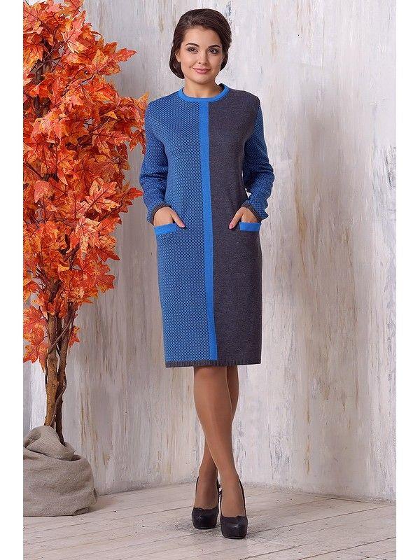 Оригинальное теплое платье с карманами с длинным рукавом 2015 - 2016 фото новинки