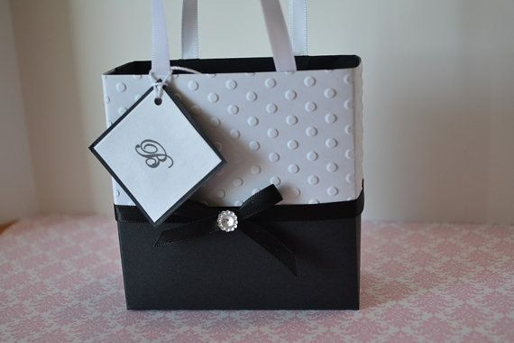 Elegant black and white wedding party favor bags for by steppnout, $2.00