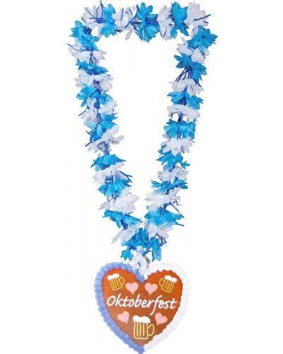 Blauw/witte Hawaii Krans in het thema Oktoberfest.