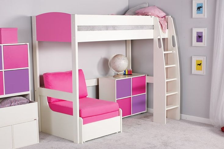 A fashionable high sleeper bed for a growing girl.