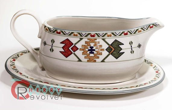 Studio Nova TIMBERLINE Mid Century Southwestern Style Dining Set includes: 1/4 pound butter dish Gravy boat and underplate Sugar bowl with lid 3 Creamer Flat cup and saucer set of 6  Very close to new condition see photos for details and close ups