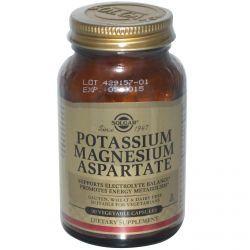 Solgar, Potassium Magnesium Aspartate, 90 Veggie Caps, Diet Suplements 蛇