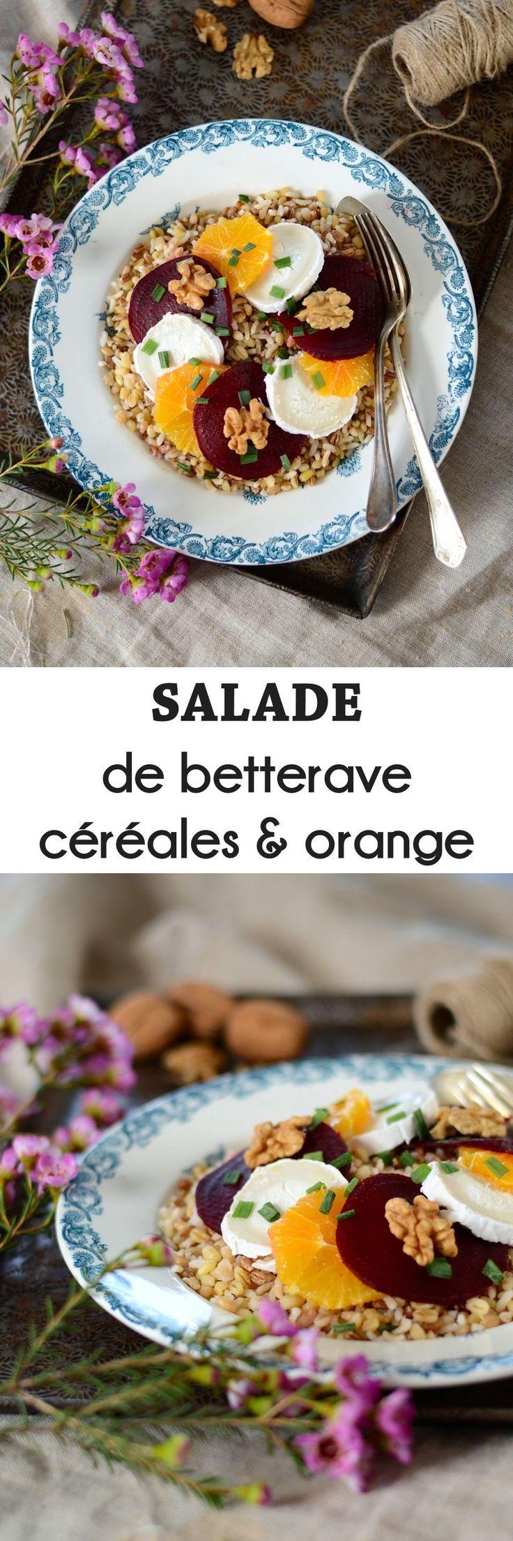 Salade de betterave rouge, céréales et orange