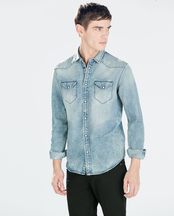 Image 1 of FADED DENIM SHIRT from Zara