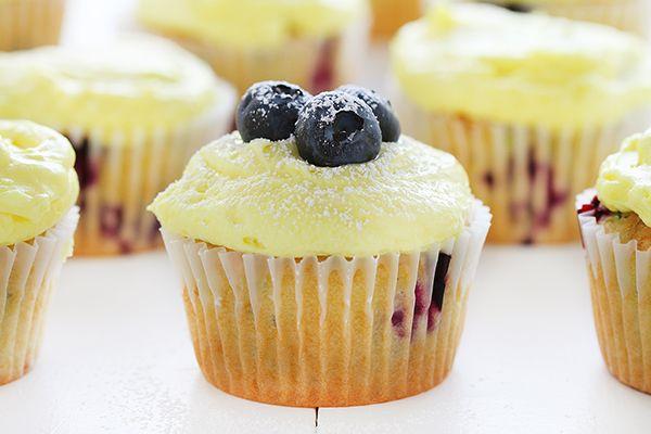 blueberry zucchini cupcakes ~ http://iambaker.net