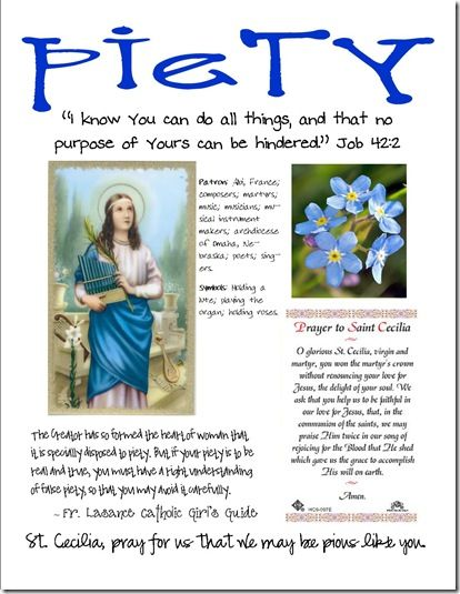 Piety Craft Page for saint Cecilia year 2 quarter 1