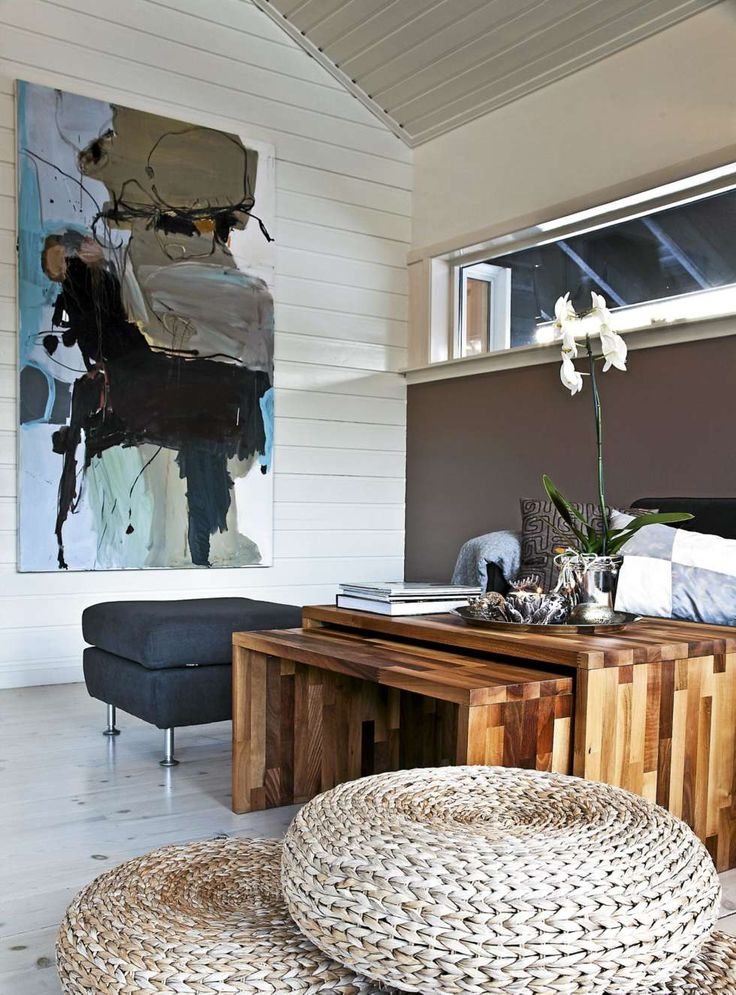 KONTRASTER.Gjestedelen av stua preges av store kontraster både når det gjelder farger og former. Mørk sofa fra Skeidar og bord som er laget av benkeplater i valnøtt. Bildet er signert Peter Skovgaard.