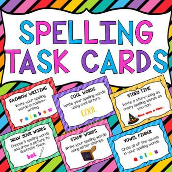 32 Spelling Task Cards. Activities include rainbow writing, alphabetical order, sentence writing, pyramid words, hidden words, vanishing words, syllable sorter, vowel finder, rhyming time, word chooser, draw your words, word scrambler, word search, word meanings, story time, acrostic poem, spelling hangman, magazine search, smaller words, cool words, triple words, synonyms, stamp words, backward words, backward alphabet, magnetic words, letter colors, bubble letters & comic strip.