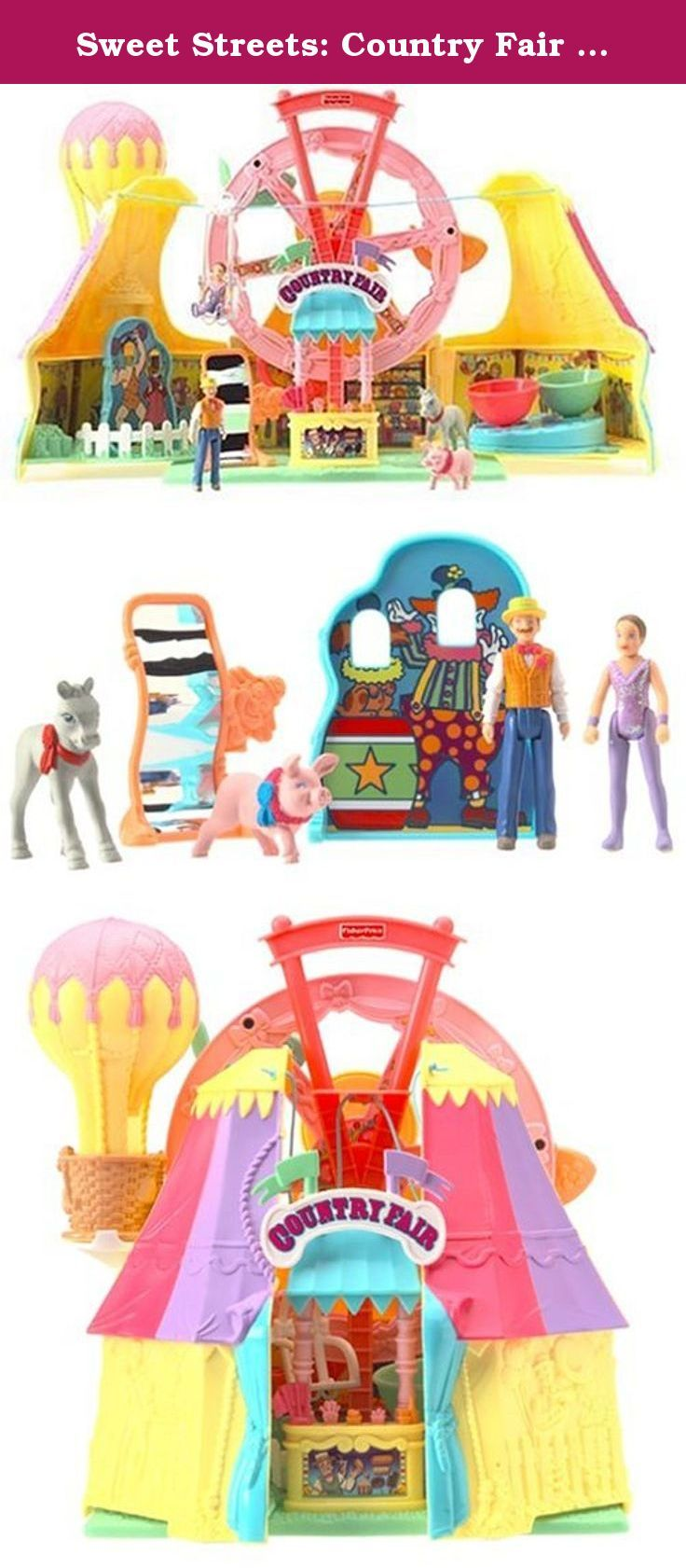 Sweet Streets: Country Fair Playset. Fisher-Price Sweet Streets Country Fair is a portable case that opens to reveal a world of colorful fair fun. The pink Ferris wheel really turns, the teacup ride spins and a funhouse mirror inspires giggles. A flying trapeze adds to the thrills of this playset, as do accessories such as a carnival barker, prize pig and more. Your little one can stretch her imagination with the hot air balloon and two-sided photo board, and the entire scene folds up…