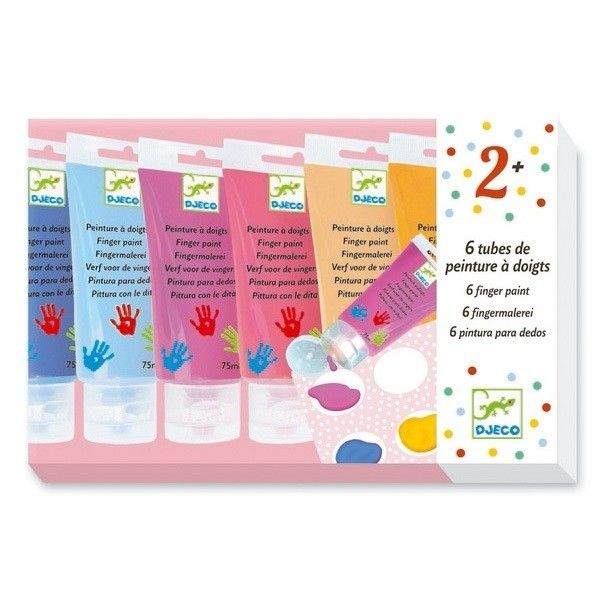 Djeco - 6 Finger Paint Tubes with palette