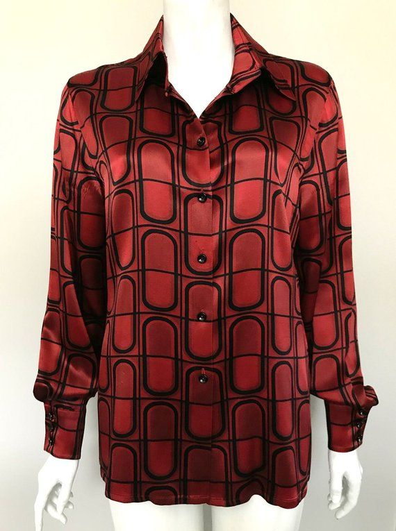 052ad7d9c833c Vintage Escada Red Printed Silk Blouse Size 40 US 10 100% Silk Vintage silk  button up blouse with lined rounded square pattern. Buttoned cuffs.