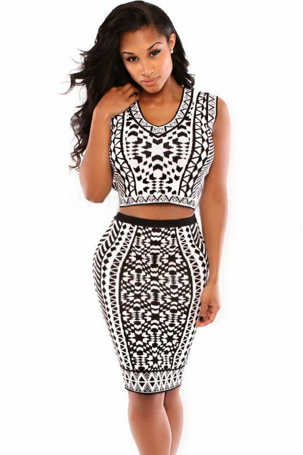 Sexy Party Tribal Print Skirt Set