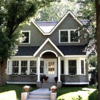 Shake siding gray white trim black accents