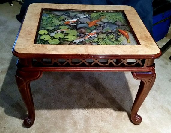 8 best images about 3d resin paintings on pinterest the for Koi fish pool table
