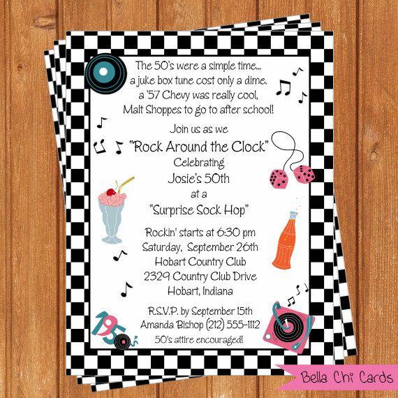50 S Theme Invitation Adult Birthday Printable Editable Digital
