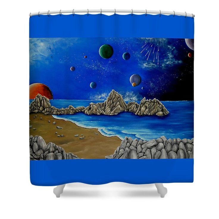 Shower Curtain,  bathroom,accessories,unique,fancy,cool,trendy,artistic,awesome,beautiful,modern,home,decor,design,for,sale,unusual,items,products,ideas,blue,sky,planets,universe,earth