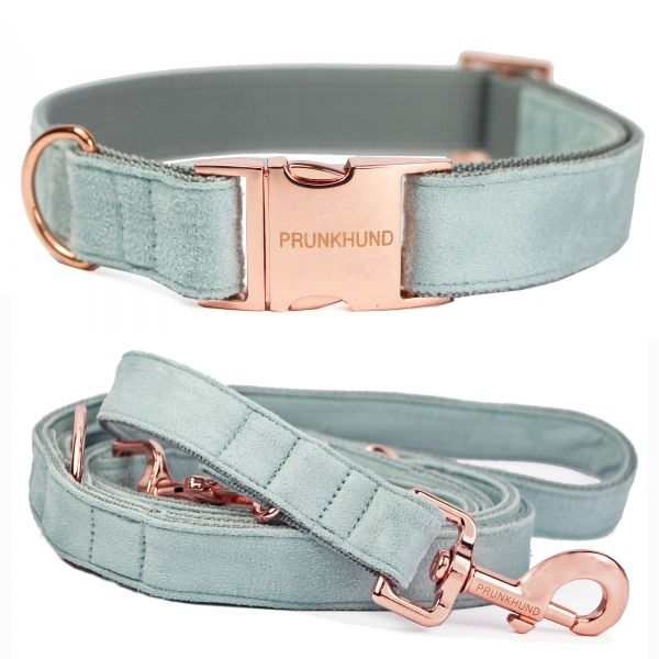 MINT SUEDE dog collar and leash with rose gold colored hardware - www.prunkhund.com