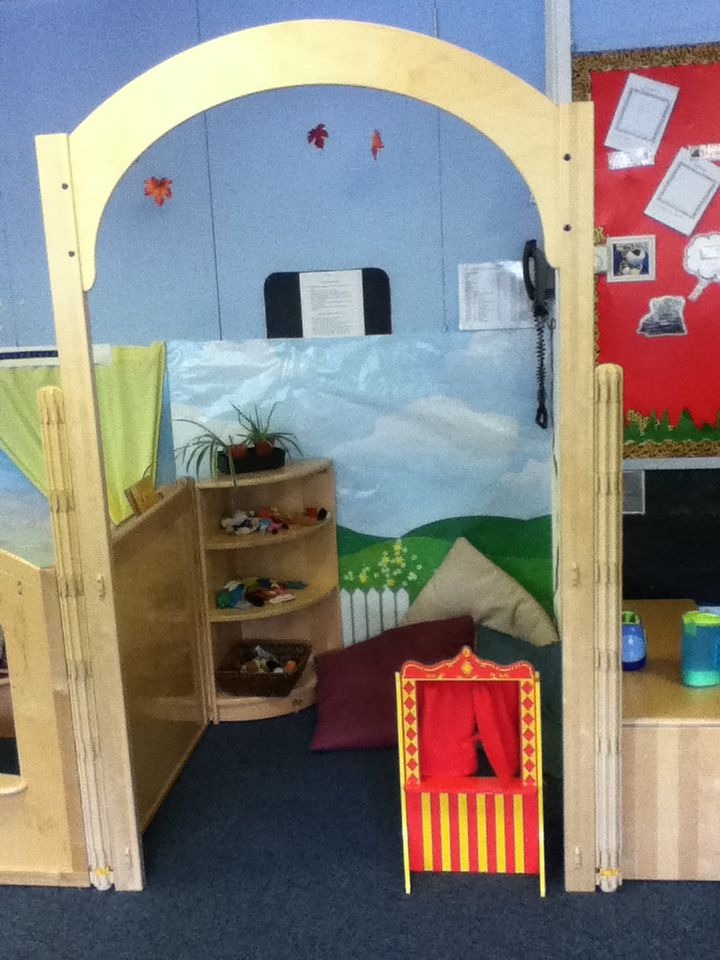 Communication Friendly Space. Furniture from Community Playthings. Resources change each day and are chosen to encourage speech and language in a small area with cushions for both children and staff to use.