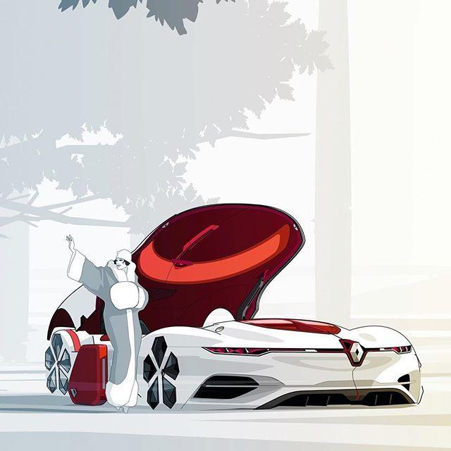 WEBSTA @ cardesignworld - Renault TreZor official sketch by Yann Jarsalle #cardesign #car #design #carsketch #sketch #renault #renaulttrezor #drawing #conceptcar #cardesigner #vehicledesign #transportdesign