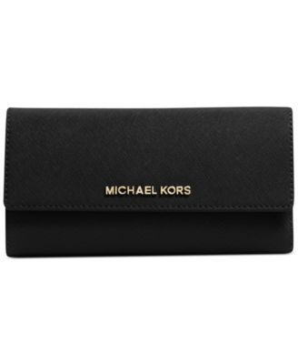 MICHAEL Michael Kors Jet Set Travel Checkbook Wallet in Luggage/Gold