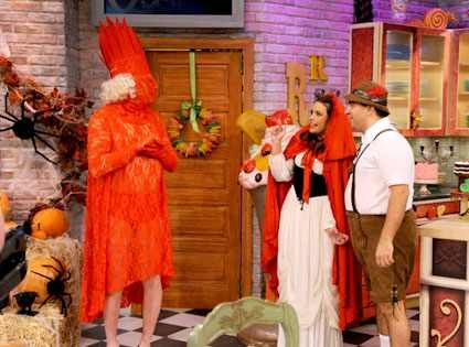 Jerry Springer & Rachael Ray from Best Celebrity Halloween Costumes  Yikes! The talk show host channeling Lady Gaga while appearing on Rachael Ray is almost as scary as some of Jerry's guests on his program.