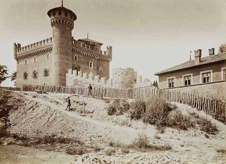 Picture from 1884. View of the medieval castle, Rocca Medievale Torino.  www.borgomedievaletorino.it
