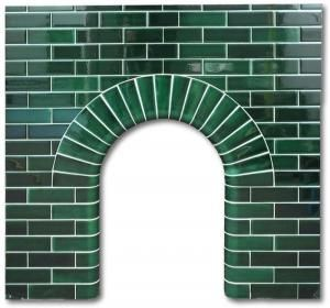 Edwardian Arch fireplace made with hand dipped tiles