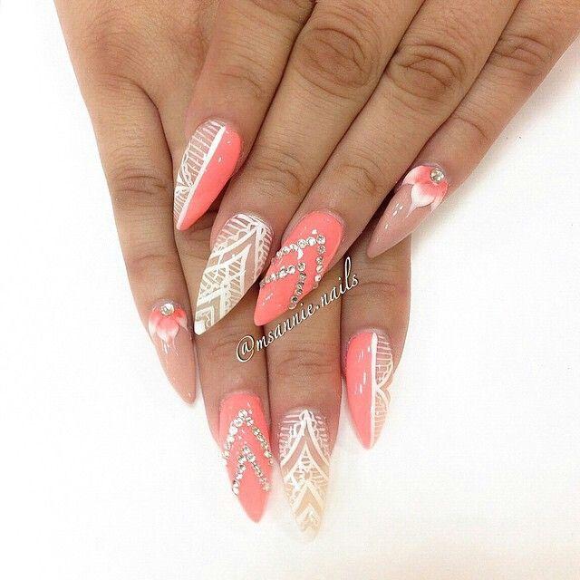 pink, glitter, floral, stilletto nails