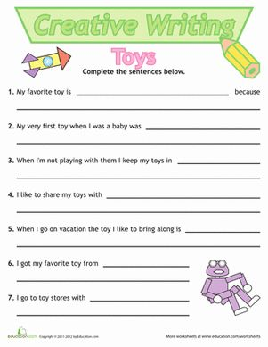 First Grade Writing Sentences Worksheets: Sentence Writing: Toys