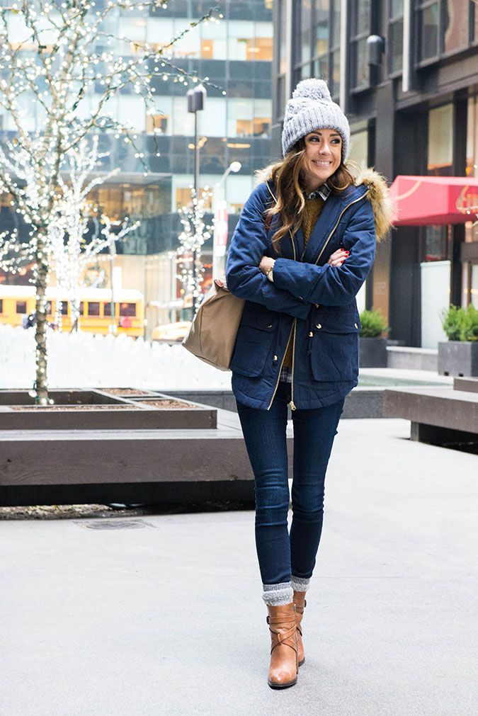 vince camuto booties, cognac booties, asos ultimate parka, faux fur collar parka, parka with faux fur hood, j.crew, j.crew crew neck sweater, j.crew plaid button-up, j.crew plaid shirt, women's fashion, personal style blogger, personal style blog, winter style, cable knit beanie, joes jeans, joe's jeans skinny jeans, longchamp tote, new york city, midtown new york city, midtown, new york,
