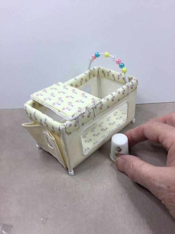 DOLLS HOUSE Miniature travel cot/playpen in lemon with cute