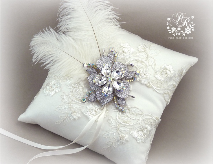 Wedding ring bearer pillow Lace embroidery Rhinestone adornment feather light ivory ring pillow bridal ring cushion & 158 best Cojin de anillos/ Bridal Ring Pillow images on Pinterest ... pillowsntoast.com