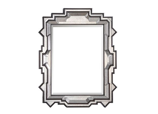 Looking Glass: Michael S. Smith's Southampton mirror has a glittering, faceted frame—super-stylish, but not an iota overwrought.