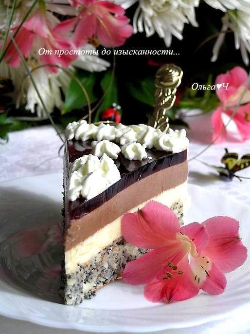 """ТОРТ """"МАКОВАЯ СВАДЬБА""""!  Нежный маковый бисквит, лаймовый и шоколадный мусс, а в завершение -вишневое желе! Восхитительно!   http://www.koolinar.ru/recipe/view/123969"""