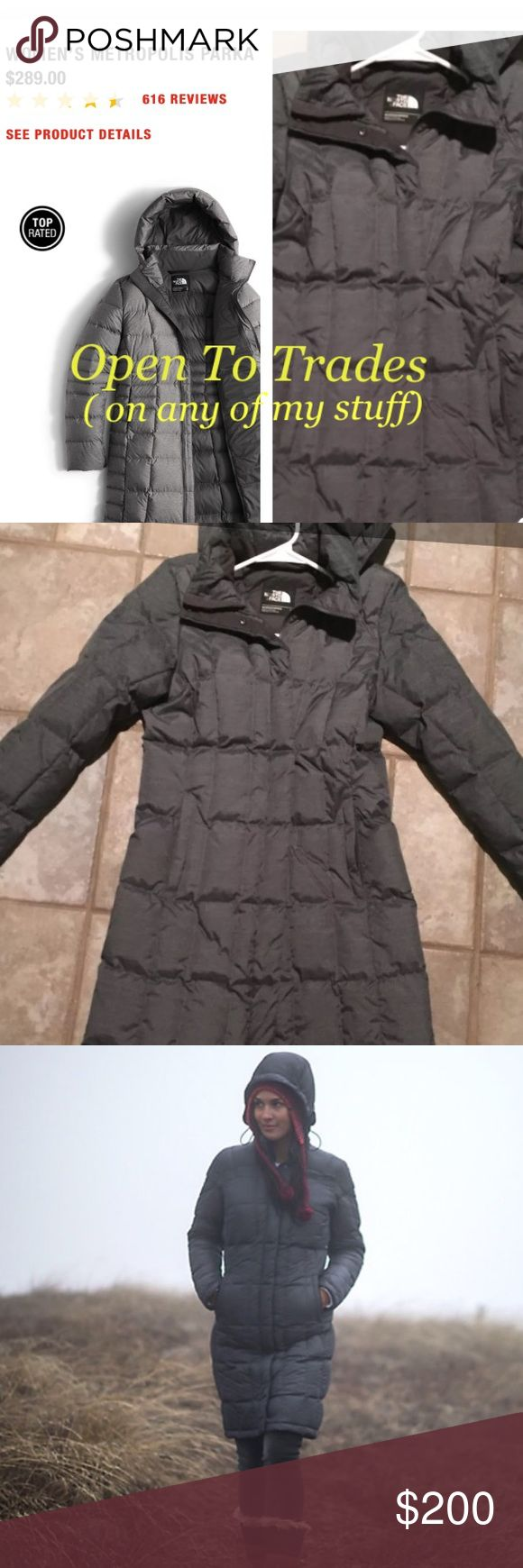 North Face Dark Heather Grey Down Metropolis Parka NF women's gray quilted down feather parka with hood The North Face Jackets & Coats