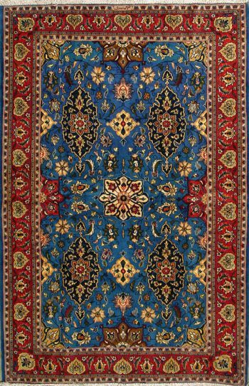 "Qum Persian Rug 4' 5"" x 6' 7"", Authentic Qum Handmade Rug"