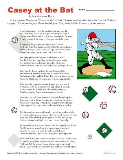 Free, printable reading comprehension packet for Casey at the Bat. Includes several activities to complete at home or in class. Click to view and print!