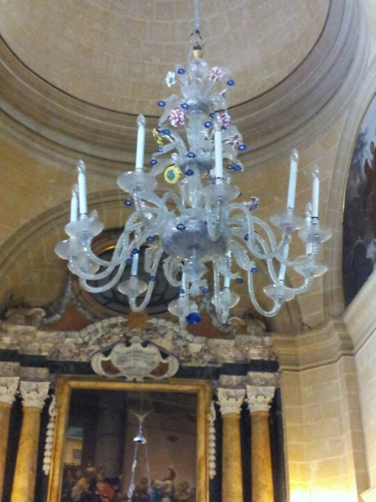 Mdina glass chandelier in St Paul's cathedral in Mdina