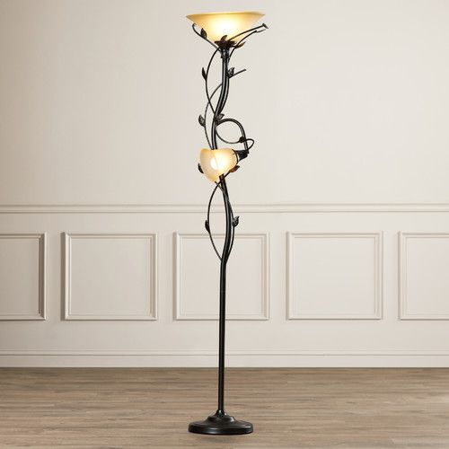 "Features:  -Durable construction.  -Fixed arm holding the lower lamp in position.  -Second lamp is 52"" high from the base.  -Includes 14"" and 6"" glass shades.  -Reading light can be turned off: Yes."