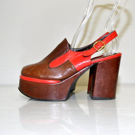 Size 7.5 Vintage 70s Leather Tall Platform by RetroThreadzVintage, $200.00