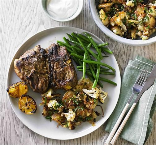 Moroccan lamb chops with roasted potatoes and cauliflower from Beef&lamb.com