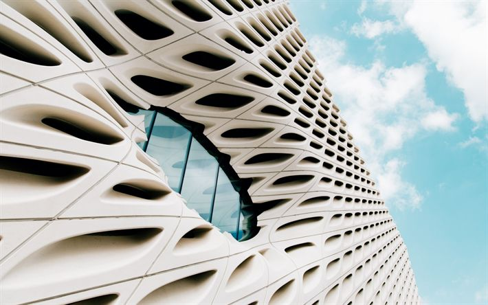 Download wallpapers modern building, modern architecture, white building exterior, window, 3d panel, blue sky, white clouds