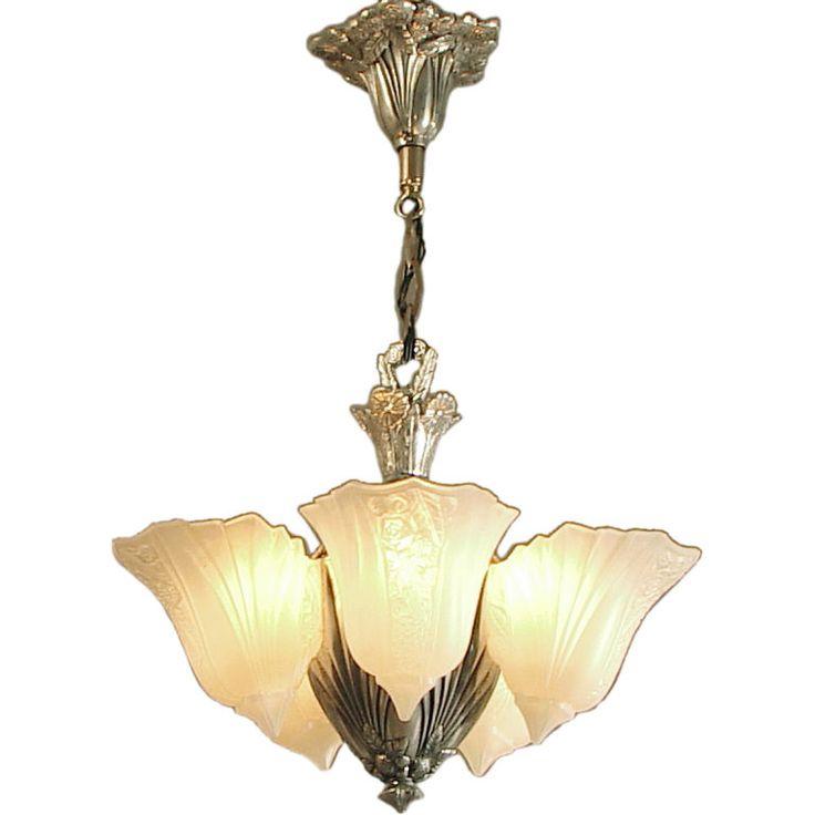 American Art Deco 5 Light Slip Shade Chandelier Glass By