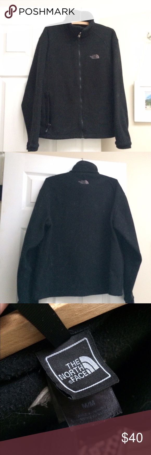 The North Face Fleece Men's Jacket Full Zip The North Face Fleece Men's Black Jacket, size medium, loose fit not form fitting,two front pockets, two interior pockets. Very comfortable (we have way too many black jackets so are downsizing!) The North Face Jackets & Coats
